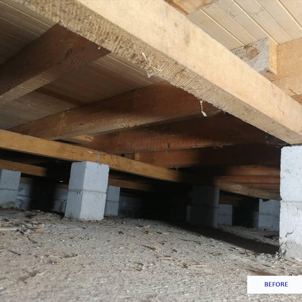 before underfloor insulation