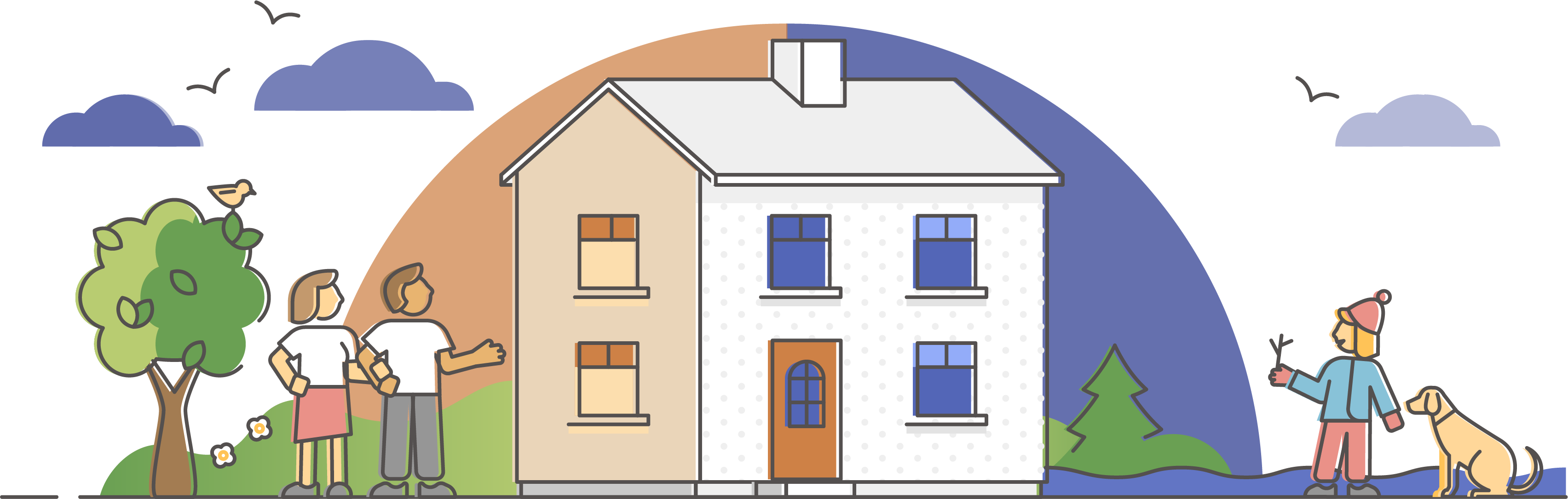 warm insulated house and people outside - illustration
